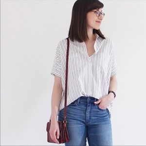 Madewell Courier Stripe Button Down Top XS